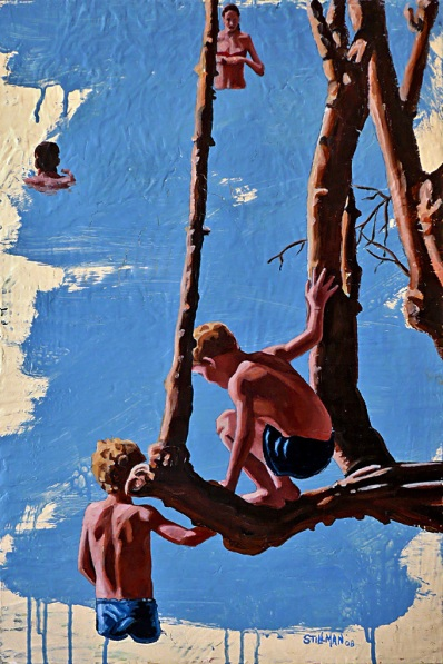 Boys on Tree on Water