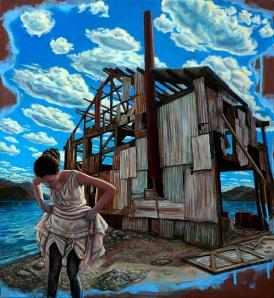 """Entitled & Abandoned"" Oil & Acrylic on Canvas, 24""x 22"""