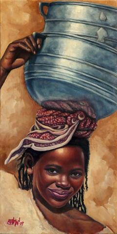 """Mali Girl"", Oil on Canvas, 12""x 24"""